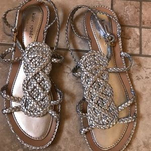 Kate Spade Silver Braided Sandals, 7M